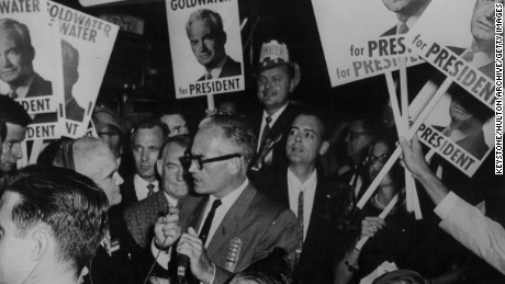 Sen. Barry Goldwater, surrounded by his supporters as he campaigns for president in 1964.