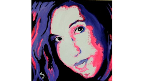 "Oil painting of Jacqueline Zanfagna, daughter of artist Anne Marie Zanfagna. This was the oil painting that started ""Angels for Addictions."""