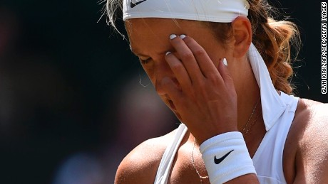 Belarus's Victoria Azarenka reacts after a point against Britain's Heather Watson during their women's singles third round match at Wimbledon