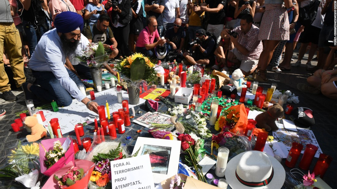 A makeshift memorial pays tribute to those who were killed in a terror attack in Barcelona Spain on Thursday August 17. A van rammed into a crowd of people near the popular tourist area of Las Ramblas. Early the next morning a group of five attackers