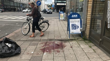 The scene in Turku, Finland following stabbing attack