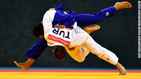 BAKU, AZERBAIJAN - MAY 14:  Ilker Gulduren of Turkey (white) throws Waheedullah Yosufazai of Afghanistan in the Mens Judo -81kg Round of 16 contest during day three of Baku 2017 - 4th Islamic Solidarity Games at Heydar Aliyev Arena on May 14, 2017 in Baku, Azerbaijan. (Photo by Dan Mullan/Getty Images)