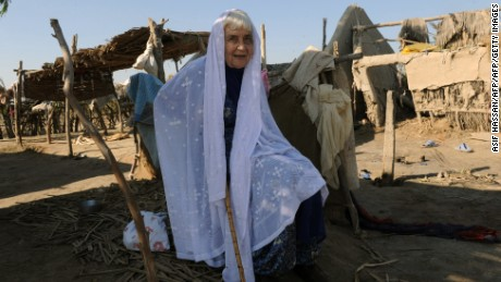 Ruth Pfau visits the flood-affected Begna village in southern Pakistan's Jati town in 2010.