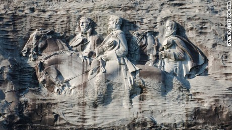"The Confederate carving on Stone Mountain depicts Jefferson Davis, Robert E. Lee and Thomas J. ""Stonewall"" Jackson."