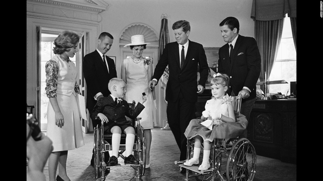 Lewis was the longtime spokesman for the Muscular Dystrophy Association. Here, Lewis visits President John Kennedy at the White House with Bobbie and Kerrie Whittaker, the 1963 national poster children for the association. Also shown, from left, are actress Patty Duke and the children's parents, Mr. and Mrs. C. Leigh Whittaker.
