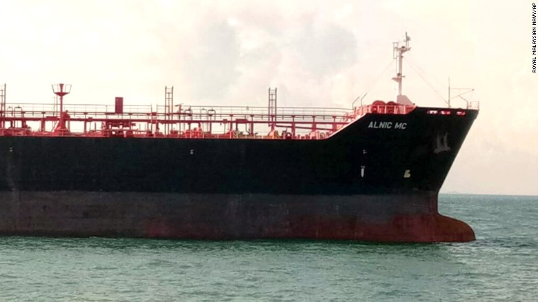 The oil and chemical tanker Alnic MC after Monday's collision off Johor, Malaysia.