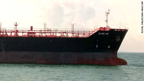 Oil and chemical tanker Alnic MC is seen after Monday's collision off Johor, Malaysia.