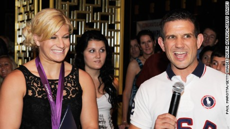 Kayla Harrison and Jimmy Pedro at Harrison's homecoming party after London 2012