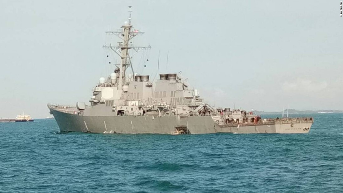 10 missing and 5 injured near Singapore.  This is the 2nd destroyer collision and 4th incident involving a US Navy warship in the Pacific this year.