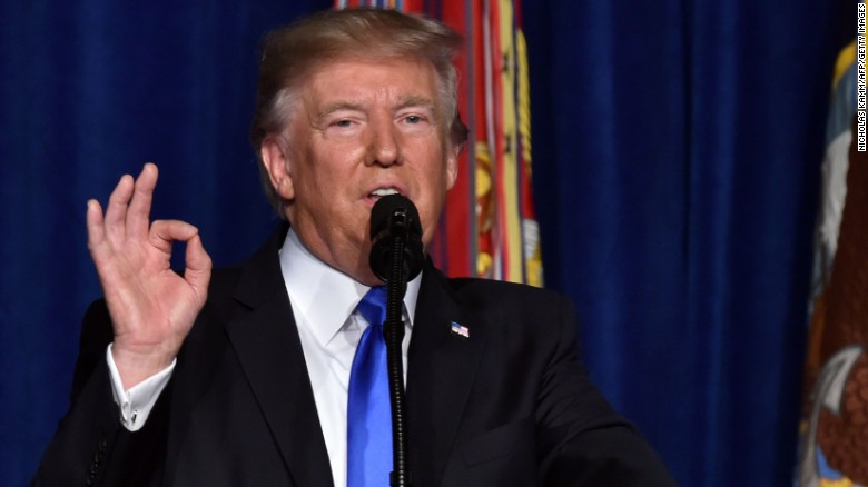 US President Donald Trump speaks during his address to the nation from Joint Base Myer-Henderson Hall in Arlington, Virginia, on August 21, 2017. Trump said a rapid Afghan exit would leave 'vacuum' for terrorists. / AFP PHOTO / Nicholas Kamm        (Photo credit should read NICHOLAS KAMM/AFP/Getty Images)