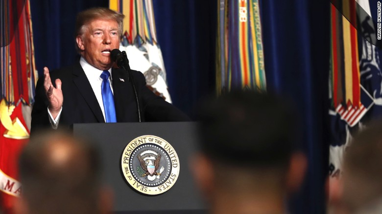 President Donald Trump speaks at Fort Myer in Arlington Va., Monday, Aug. 21, 2017, during a Presidential Address to the Nation about a strategy he believes will best position the U.S. to eventually declare victory in Afghanistan. (AP Photo/Carolyn Kaster)