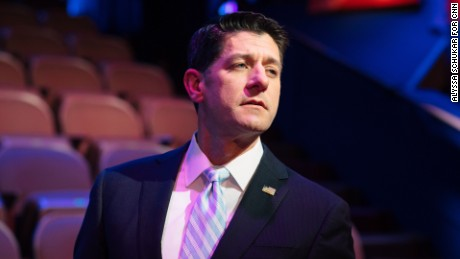 08/21/2017: RACINE, WISCONSIN --  House Speaker Paul Ryan greets town hall participants on Monday, Aug. 21, 2017, at the Racine Theatre Guild in Racine, Wisconsin.  Alyssa Schukar for CNN