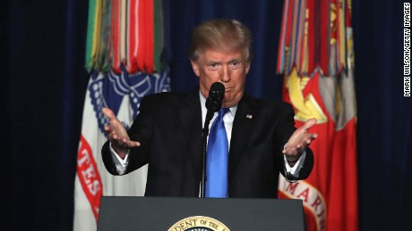 ARLINGTON, VA - AUGUST 21:  U.S. President Donald Trump delivers remarks on Americas military involvement in Afghanistan at the Fort Myer military base on August 21, 2017 in Arlington, Virginia. Trump was expected to announce a modest increase in troop levels in Afghanistan, the result of a growing concern by the Pentagon over setbacks on the battlefield for the Afghan military against Taliban and al-Qaeda forces.  (Photo by Mark Wilson/Getty Images)