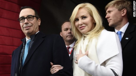 This is a January 20, 2017 file photo of then Treasury Secretary-designate Stephen Mnuchin and his then fiancee, Louise Linton, on Capitol Hill in Washington, for the presidential inauguration of Donald Trump.