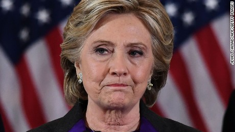 TOPSHOT - US Democratic presidential candidate Hillary Clinton makes a concession speech after being defeated by Republican president-elect Donald Trump in New York on November 9, 2016. / AFP / JEWEL SAMAD        (Photo credit should read JEWEL SAMAD/AFP/Getty Images)