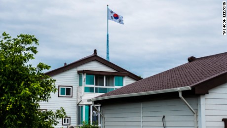 In Taesung, also known as Freedom Village, houses are built with extra thick walls because of the incessant propaganda.