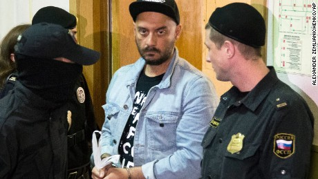 Russian theater and film director Kirill Serebrennikov is ushered into court for a hearing on August 23, 2017, in Moscow.