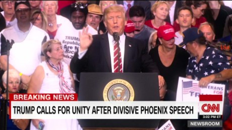 exp Trump calls for unity after divisive Phoenix speech _00002001