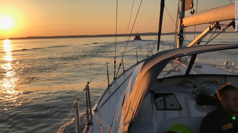 """""""Boomerang"""" lives up to her name and gets towed back to the UK six and a half hours after setting sail. A length of rope had become tangled in the boat's propeller."""