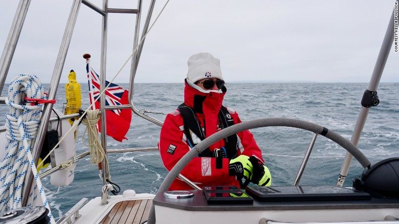 Kellie feels the cold during the bitterly cold journey to Gibraltar.