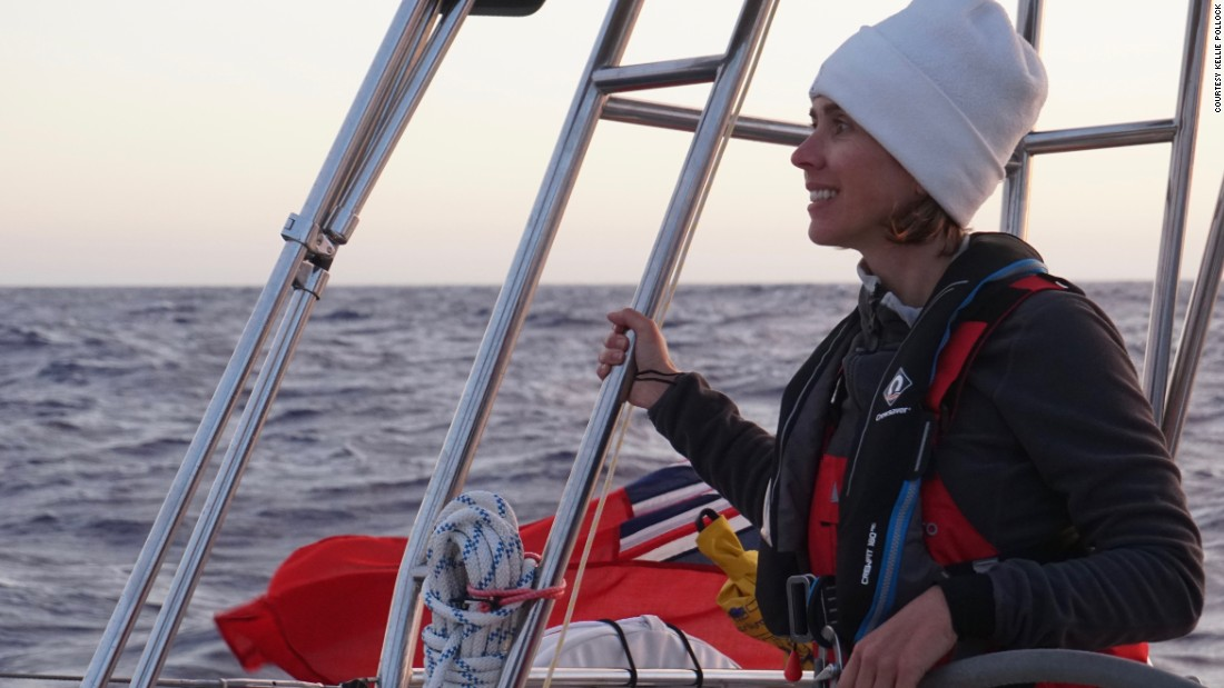 Kellie takes the helm en route to Gibraltar, looking out over the waters just off the Portuguese coast.