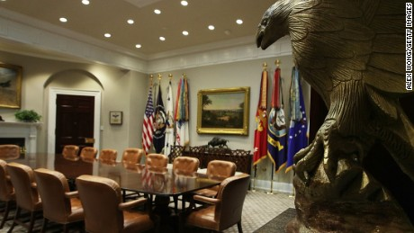 The Roosevelt Room of the White House is seen after renovations August 22, 2017 in Washington, DC.