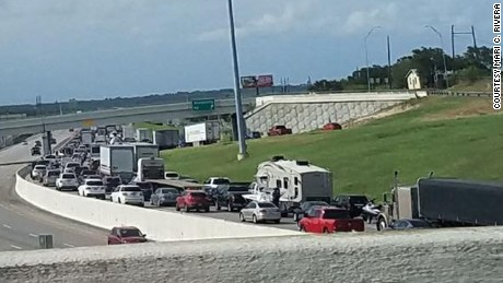 Northbound traffic was using the shoulder and three regular lanes to get out of Corpus Christi.
