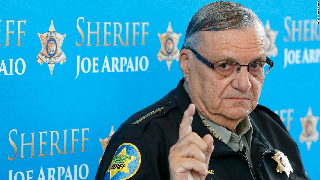 "President Donald Trump <a href=""http://www.cnn.com/2017/08/25/politics/sheriff-joe-arpaio-donald-trump-pardon/index.html"" target=""_blank"">pardoned  controversial former Arizona sheriff Joe Arpaio</a> on Friday, August 25. Arpaio was <a href=""http://www.cnn.com/2017/07/31/us/arpaio-found-guilty/index.html"" target=""_blank"">convicted of criminal contempt</a> in July for disregarding a court order in a racial profiling case."