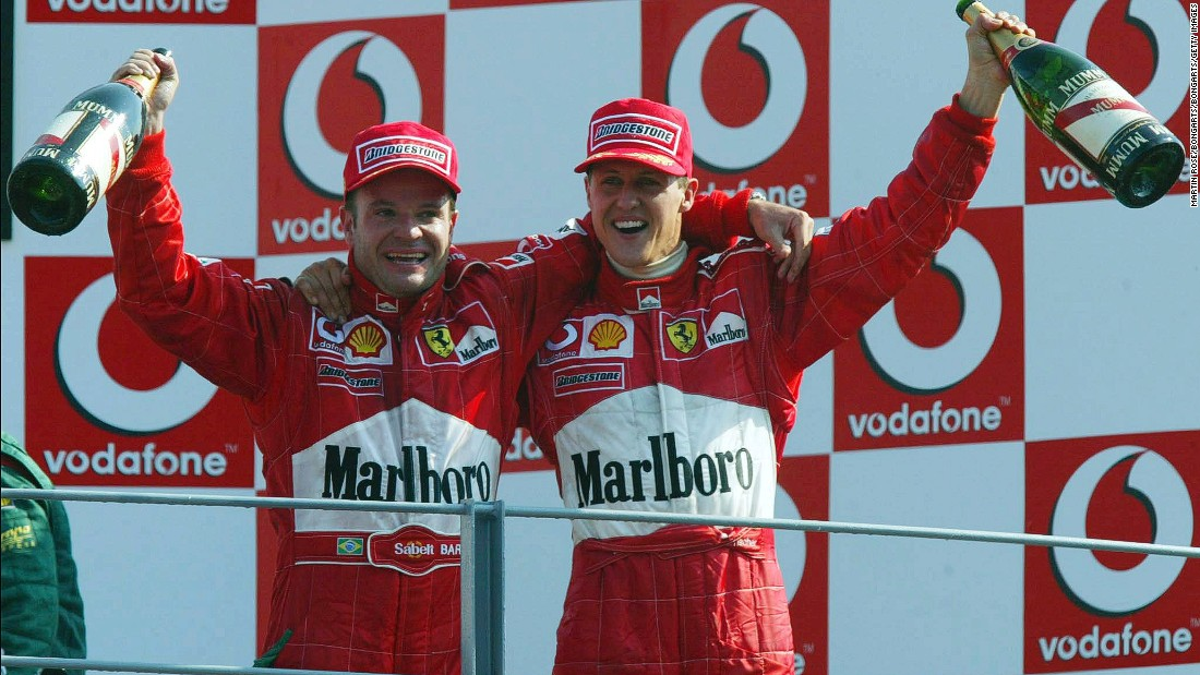 Happy times for Ferrari as Rubens Barrichello and Michael Schumacher completed a one-two for the Italian team in 2002. Ferrari hasn't won at Monza since 2010.