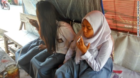 Icha, 16, began smoking when she was 13 after a friend offered a cigarette to smoke together.