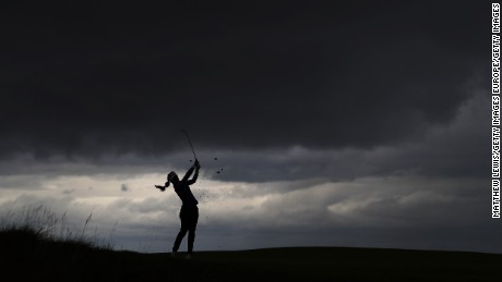 KINGSBARNS, SCOTLAND - AUGUST 04: Gaby Lopez of Mexico hits her second shot on the 4th hole during the second round of the Ricoh Women's British Open at Kingsbarns Golf Links on August 4, 2017 in Kingsbarns, Scotland.  (Photo by Matthew Lewis/Getty Images)