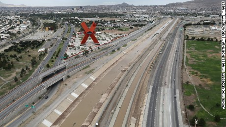 EL PASO, TX - AUGUST 01:  The Rio Grande forms the U.S.-Mexico border as seen from a U.S. Customs and Border Protection helicopter on August 1, 2017 in El Paso, Texas. At left is Fiesta Park in Juarez, Mexico. Logistical challenges are just some of the complications facing the construction of a border wall proposed by President Trump.  (Photo by John Moore/Getty Images)