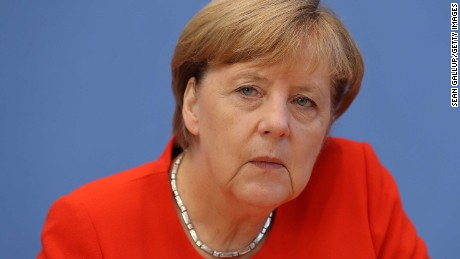 German Chancellor Angela Merkel speaks to the media at her annual press conference.