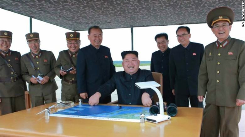 An undated photo appears to show North Korean leader Kim Jong Un overseeing a missile launch, likely to be the one launched by North Korea on August 29.