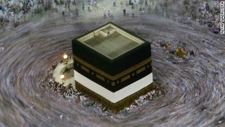 Thousands of muslim pilgrims perform 'Tawaaf' or go around Kabah seven times at the Grand Mosque in Mecca