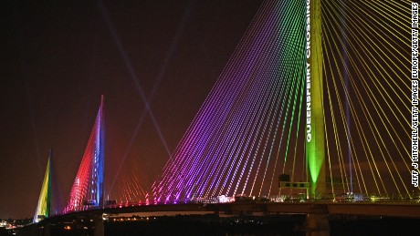 NORTH QUEENSFERRY, SCOTLAND - AUGUST 28:  The Queensferry Crossing is light up to mark the ceremonial handover of the bridge from the contractors to Scottish Government on August 28, 2017 in North Queensferry, Scotland. Scotland's newest road bridge which began construction in 2011, crosses the Firth of Forth near Edinburgh. The crossing is the world's longest three tower cable stayed bridge and the largest to feature cables which cross mid span.  (Photo by Jeff J Mitchell/Getty Images)