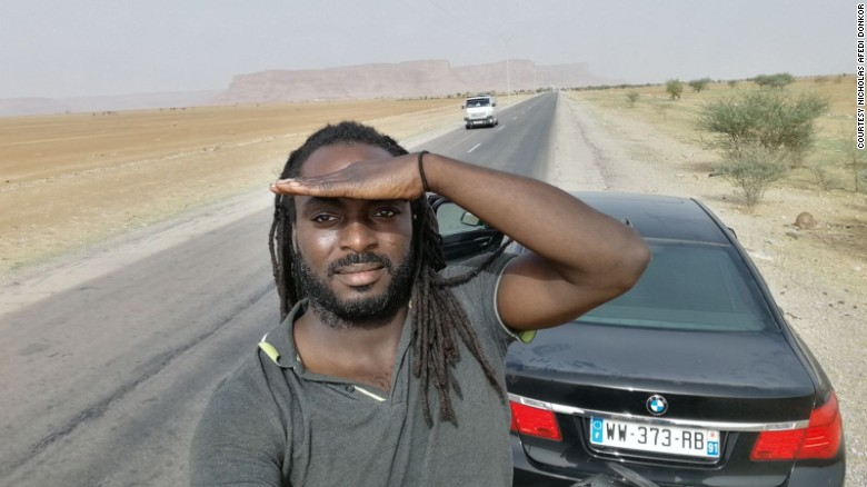Nicholas Afedi Donkoh takes a selfie in Morocco. His near-5,000 mile road trip took nine days.