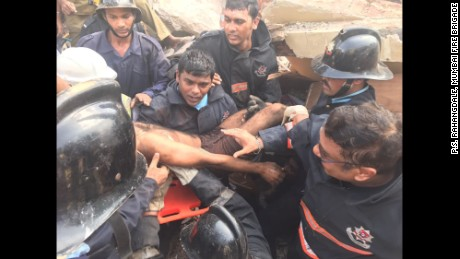 The building collapse rescue was launched as Mumbai also deals with devastating floods.