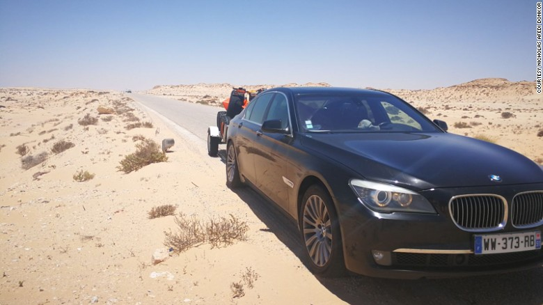 Donkoh's BMW on the road in Mauritania.
