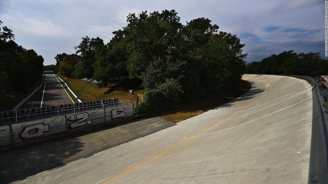 The old banking can be spied from the various vantage points around Monza -- and can be seen on television as the drivers blast down towards the Ascari chicane.