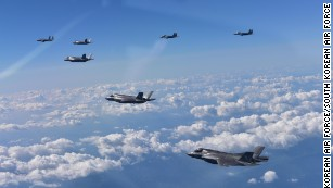 US F-35 fighter jets take part in an exercise with South Korean jets.