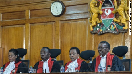 "Kenyan Supreme Court judges rule over an opposition petition challenging the result of the August 8 presidential election in Nairobi on September 1, 2017. Kenya's Supreme Court declared the results of last month's presidential poll ""invalid, null and void"" and ordered the election be re-run within 60 days."