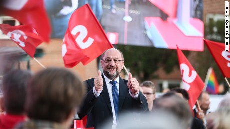 Chancellor candidate Martin Schulz speaks at a demonstration in Hamburg, Germany on August 31.