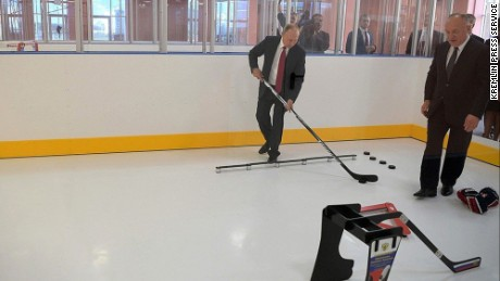 Putin visits new hockey school in Yaroslavl.