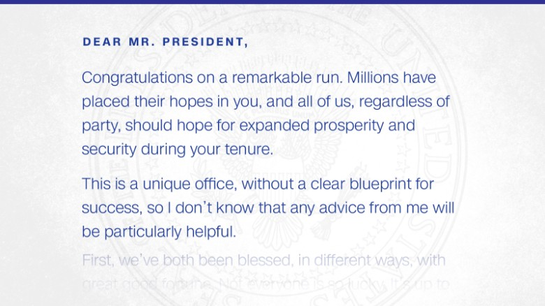 Read The Inauguration Day Letter Obama Left For Trump - Cnnpolitics