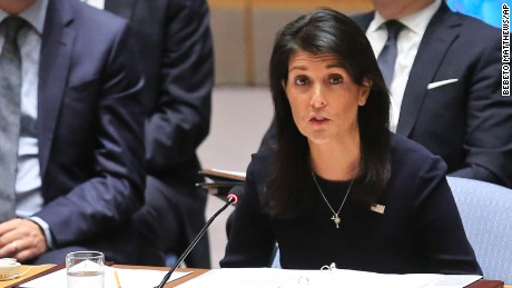 United Nations U.S. Ambassador Nikki Haley addresses a U.N. Security Council meeting on North Korea, Monday Sept. 4, 2017 at U.N. headquarters. (AP Photo/Bebeto Matthews)