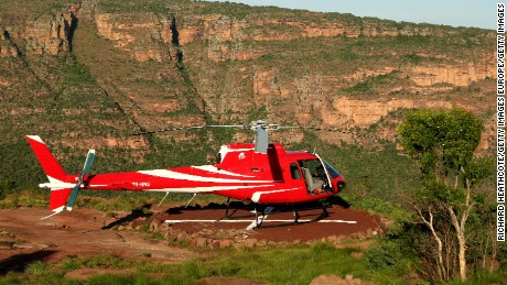 ENTABENI, SOUTH AFRICA - JANUARY 07:  The Resort Helicopter sits up near the tee to the Extreme 19th hole, Par 3 631m long, where the tee is at the top of Hanglip mountain and the green is the shape of Africa at the Legend Golf Course on the Entabeni Safari Reserve on January 7, 2009 in Entabeni, South Africa. The Legend Golf Course has been designed by 18 different golfers, each one doing an entire hole, plus an extreme 19th 631m long par 3  (Photo by Richard Heathcote/Getty Images)