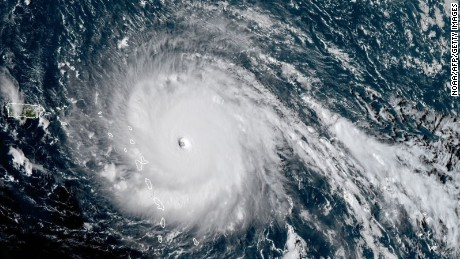This satellite image obtained from the National Oceanic and Atmospheric Administration (NOAA) shows Huricane Irma at 1930 UTC on September 5, 2017.