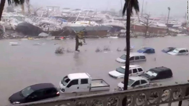 Parts of the Caribbean island of St. Martin are left flooded Wednesday after Irma hit.