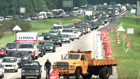 Traffic in all four lanes of I-16 westbound comes to a crawl as people evacuate the coast outside Savannah, Georgia, on September 14, 1999, ahead of Hurricane Floyd.